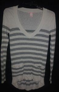 Victorias Secret Gray White Stripe Sweater XS